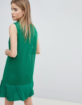 photo Ribbed Shift Dress with Pephem by Angel Eye, color Green - Image 2