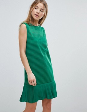 photo Ribbed Shift Dress with Pephem by Angel Eye, color Green - Image 1