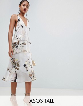 photo Floaty Cami Midi Dress in Blurred Floral Print by ASOS DESIGN Tall, color Multi - Image 1