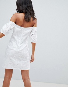 photo Lace up Broderie Off Shoulder Mini Sundress by ASOS DESIGN Tall, color White - Image 2