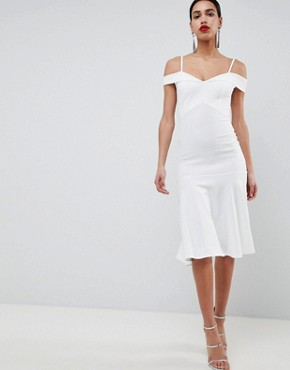 photo Bardot Fit & Flare Dress by Club L, color White - Image 1