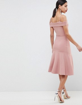 photo Bardot Fit & Flare Dress by Club L, color Pink - Image 2