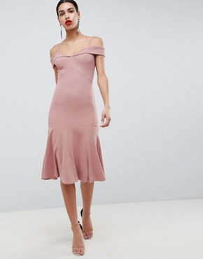 photo Bardot Fit & Flare Dress by Club L, color Pink - Image 1