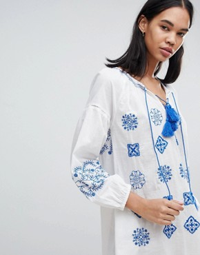 photo Kate Embroidered Tunic Dress by Pepe Jeans, color Factory White - Image 3