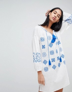 photo Kate Embroidered Tunic Dress by Pepe Jeans, color Factory White - Image 1