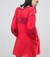photo Kate Embroidered Tunic Dress by Pepe Jeans, color Red Hot - Image 2