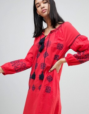 photo Kate Embroidered Tunic Dress by Pepe Jeans, color Red Hot - Image 4