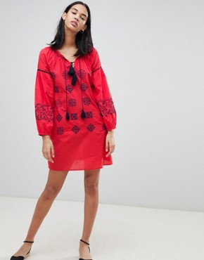 photo Kate Embroidered Tunic Dress by Pepe Jeans, color Red Hot - Image 1