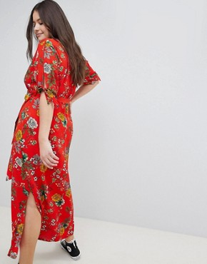 photo Wrap Maxi Dress by New Look Curve, color Red - Image 2