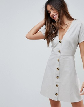 photo Button Through Mini Casual Skater Dress by ASOS DESIGN, color Stone - Image 1