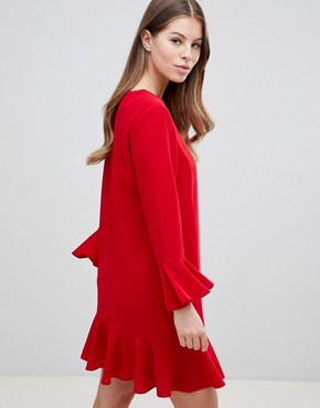 photo Fluted Sleeve Ruffle Hem Mini Dress by ASOS DESIGN, color Red - Image 2