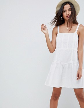photo Drop Waist Lace Trim Mini Sundress by ASOS DESIGN, color White - Image 1