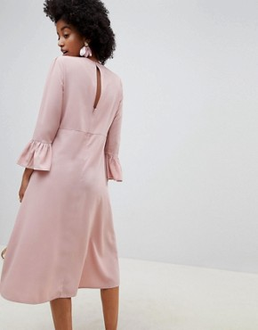 photo Fluted Sleeve Midi Dress with Knot Front by ASOS DESIGN, color Nude - Image 2