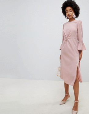 photo Fluted Sleeve Midi Dress with Knot Front by ASOS DESIGN, color Nude - Image 1