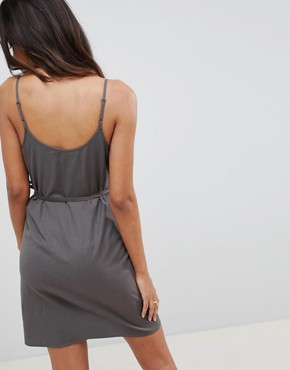photo Linen Wrap Side Mini Sundress by ASOS, color Grey - Image 2