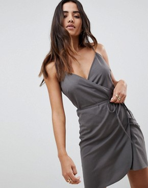 photo Linen Wrap Side Mini Sundress by ASOS, color Grey - Image 1