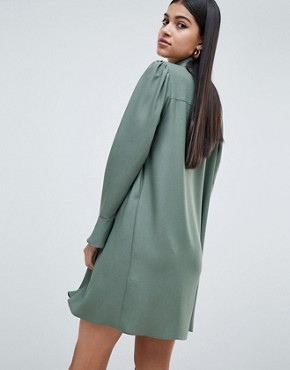 photo Long Sleeve Mini Shirt Dress by ASOS DESIGN, color Khaki - Image 2
