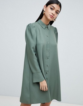 photo Long Sleeve Mini Shirt Dress by ASOS DESIGN, color Khaki - Image 1