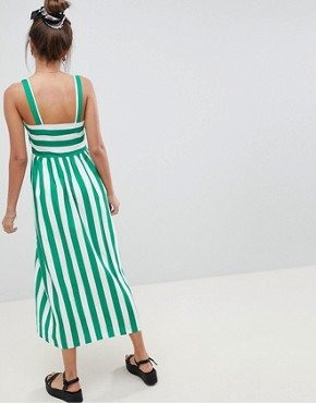 photo Linen Button Through Maxi Dress in Stripe by ASOS DESIGN, color Multi - Image 2
