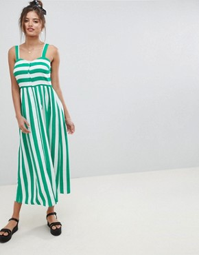 photo Linen Button Through Maxi Dress in Stripe by ASOS DESIGN, color Multi - Image 1