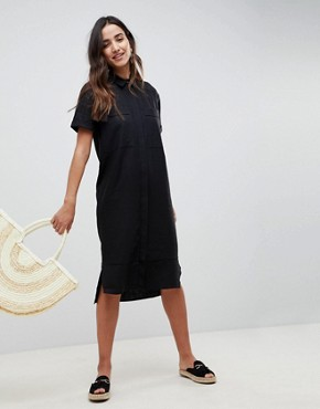 photo Casual Midi Shirt Dress in Linen by ASOS, color Black - Image 1