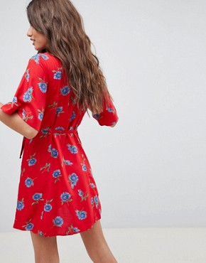 photo Wrap Dress with Tortoiseshell Buttons in Floral Print by ASOS DESIGN, color Multi - Image 2