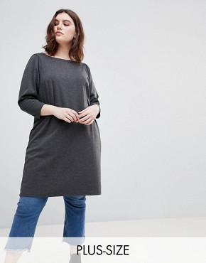 photo Longline Tunic Dress by New Look Curve, color Black - Image 1