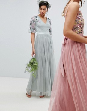 photo Embellished Tulle Sleeve Maxi Tulle Dress in Green by Maya, color Green Lily - Image 1