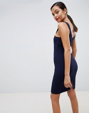 photo Cross Front Detail Bodycon Dress in Navy by Outrageous Fortune, color Navy - Image 2