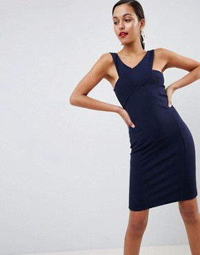 photo Cross Front Detail Bodycon Dress in Navy by Outrageous Fortune, color Navy - Image 1