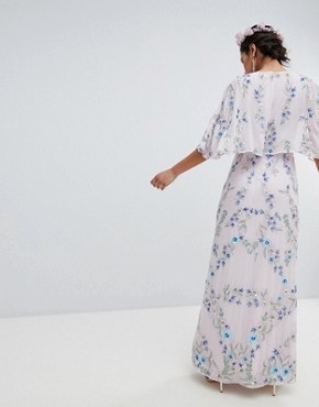 photo Floral Embellished Wrap Front Maxi Dress in Multi Colour by Maya Premium, color Multi - Image 2