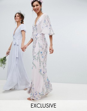 photo Floral Embellished Wrap Front Maxi Dress in Multi Colour by Maya Premium, color Multi - Image 1