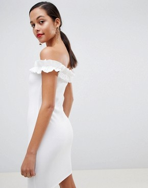 photo Bardot Ruffle Detail Bodycon Dress in White by Outrageous Fortune, color White - Image 2