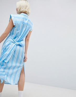 photo Stripe Shirt Dress by Mads Norgaard, color Clear Sky - Image 2