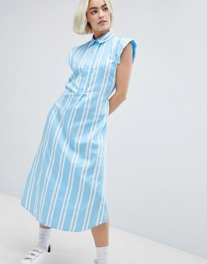 photo Stripe Shirt Dress by Mads Norgaard, color Clear Sky - Image 1