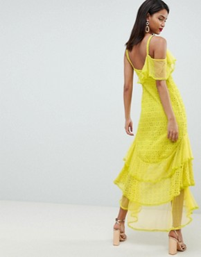 photo Asymmetric Tiered Broderie Maxi Dress by ASOS DESIGN, color Lime - Image 2