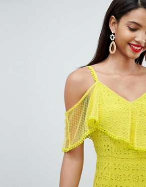 photo Asymmetric Tiered Broderie Maxi Dress by ASOS DESIGN, color Lime - Image 1