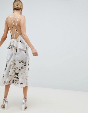 photo Floaty Cami Midi Dress in Blurred Floral Print by ASOS DESIGN, color Floral Print - Image 2