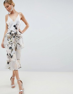 photo Floaty Cami Midi Dress in Blurred Floral Print by ASOS DESIGN, color Floral Print - Image 1