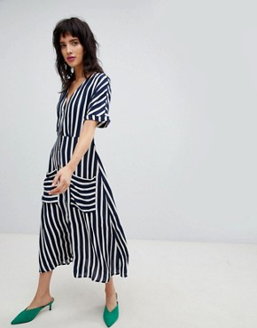 photo Wide Stripe Dress by Stradivarius, color Multi - Image 1