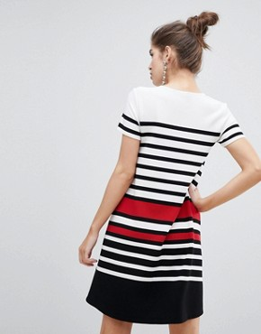 photo Short Sleeve Stripe Dress by Stradivarius, color Multi - Image 2