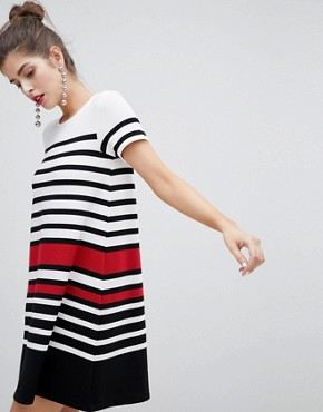 photo Short Sleeve Stripe Dress by Stradivarius, color Multi - Image 1