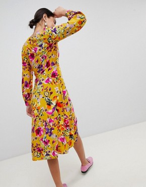 photo Floral Print Midi Dress by Stradivarius, color Multi - Image 2