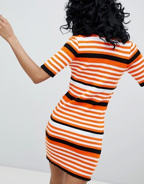 photo Ribbed Short Sleeve Jumper Dress by Rokoko, color Multi - Image 2