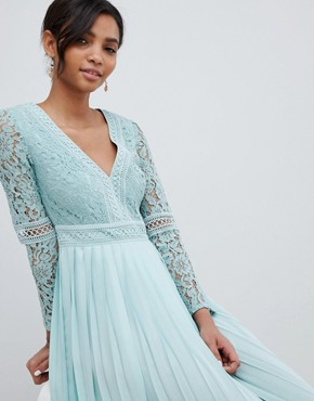 photo Lace Top Midi Skater Dress with Pleated Skirt in Spearmint by Little Mistress, color Spearmint - Image 1