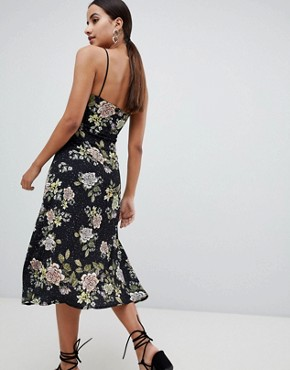 photo Lace Floral Midi Dress by Missguided, color Black - Image 2