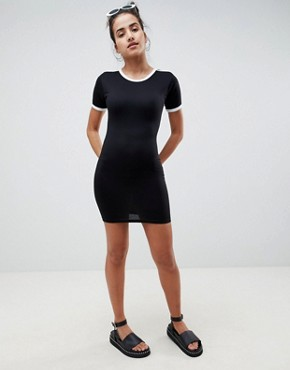 photo Stripe Bodycon T-Shirt Dress by Missguided, color Black - Image 1