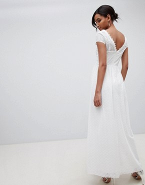 photo Allover Broderie Plunge Front Maxi Dress in White by Little Mistress, color White - Image 2