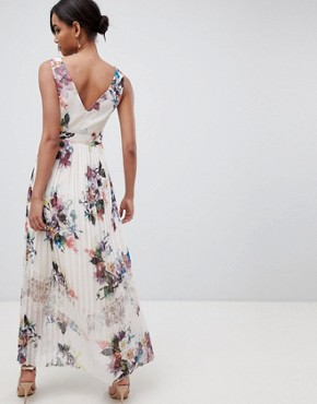 photo Pleated Maxi Dress in Floral Print in Cream Multi by Little Mistress, color Cream/Multi - Image 2