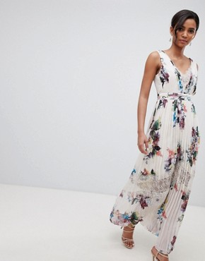 photo Pleated Maxi Dress in Floral Print in Cream Multi by Little Mistress, color Cream/Multi - Image 1